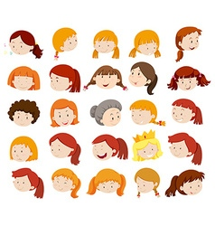Female heads with happy face vector