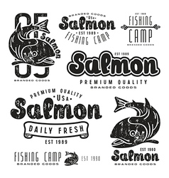 Set of fishing labels in retro style vector image