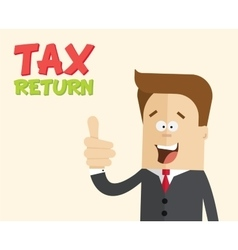 Happy businessman or manager with thumbs up tax vector