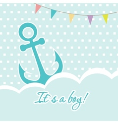 Baby boy shower card with cute anchor on seamless vector