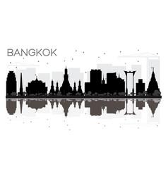 Bangkok city skyline black and white silhouette vector