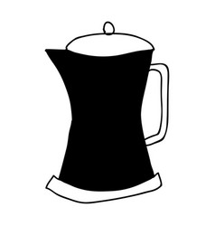 Black silhouette hand drawn of metallic kettle of vector