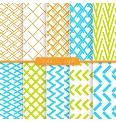 Bright and simple orange blue and green pattern vector image
