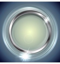 Bright shiny background with metal circle frame vector image vector image