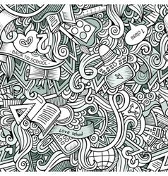 Cartoon cute doodles School seamless pattern vector image