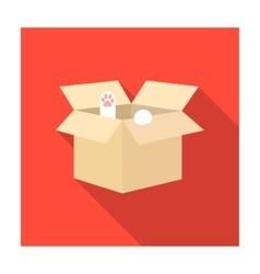 Cat in a carton box icon of vector