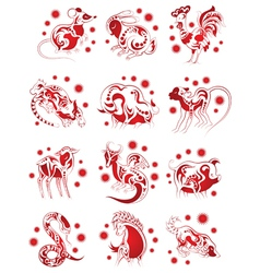Chinese horoscope animals set for design vector
