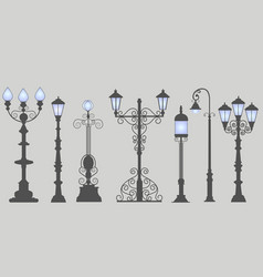 Collection of seven street lamps isolated gray vector