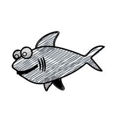 color pencil drawing of big gray shark vector image