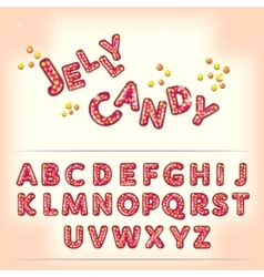 Comic cartoon jelly candy style alphabet vector image