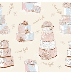 Cream cake pattern vector