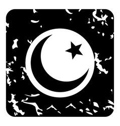Crescent and star icon grunge style vector