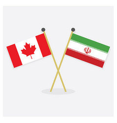 Crossed canada and islamic republic of iran flags vector