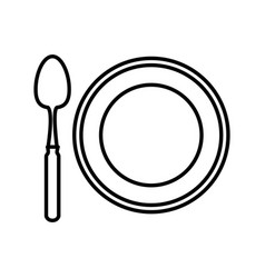 dish and spoon isolated icon vector image vector image