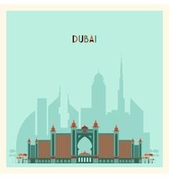 Dubai city skyline silhouette flat trendy design vector
