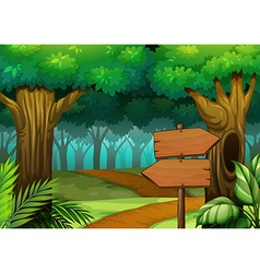Forest scene with wooden signs vector
