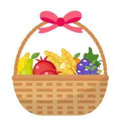 fruit basket icon flat cartoon style jewish vector image vector image