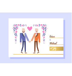 gay couple getting married vector image vector image