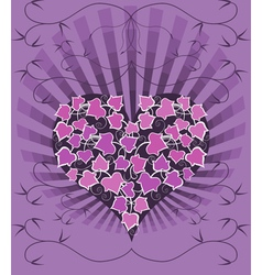 Gothic card with ivy heart vector