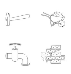 Hammer wheelbarrow with cargo water faucet vector