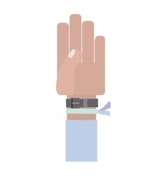 Hand with light blue sleeve and bracelet vector