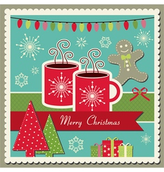Hot chocolate Christmas card vector image