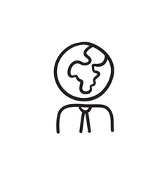 Human with globe head sketch icon vector