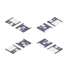 Isometric flat floppy disk diskette vector image