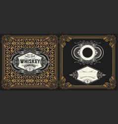 Liquor label with design elements vector