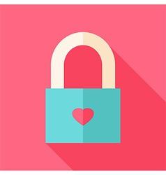 Locked padlock with heart vector