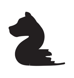 number two with dog shape vector image