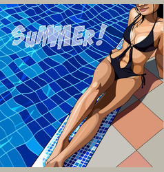 Painted beautiful woman in a swimsuit by the pool vector