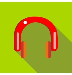Red headphones icon in flat style vector image vector image