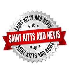 Saint kitts and nevis round silver badge with red vector