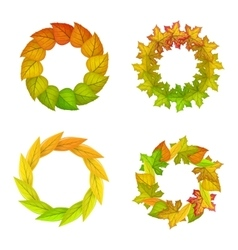 Set of autumn leaves frame in flat design vector