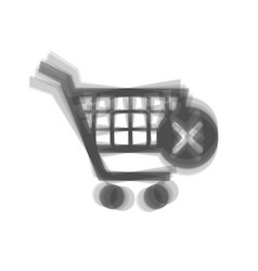 Shopping cart with delete sign gray icon vector
