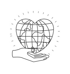 Silhouette hand palm giving a earth globe world in vector