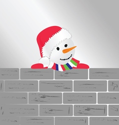 Snowman with brick wall art vector