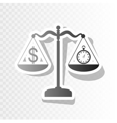 Stopwatch and dollar symbol on scales new vector