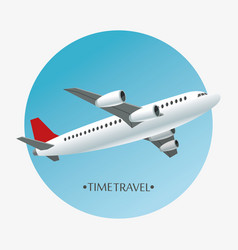 Time travel airplane airport concept vector