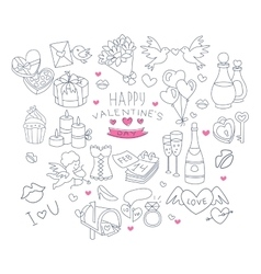 Valentines Day Handdrawn Symbols Collection vector image vector image