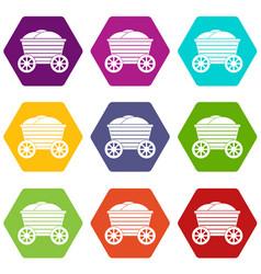 vintage wooden cart icon set color hexahedron vector image vector image