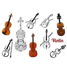Violin music instruments set vector image