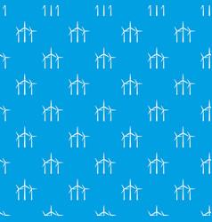Wind turbines pattern seamless blue vector