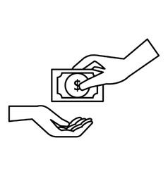 Hand gives money icon outline style vector image
