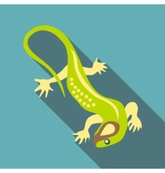 Green lizard icon flat style vector