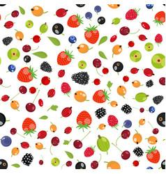 fresh berry fruit seamless pattern vector image