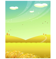 Mountains wheat field vector