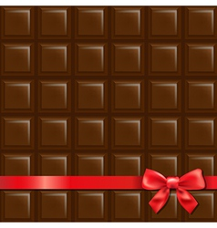 Chocolate background with red bow vector