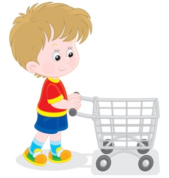 Boy with a shopping trolley vector